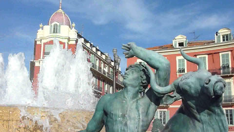 Fountain at Massena place, Nice Stock Video Footage