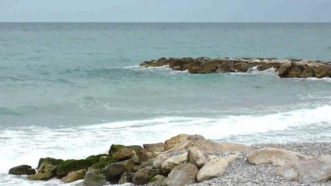 Wave sea at Menton, France Footage