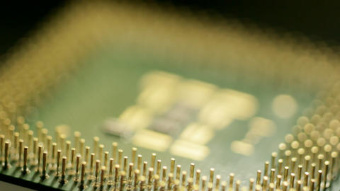 Pins of computer processor Stock Video Footage