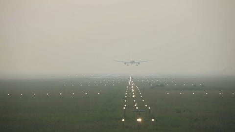 Landing In The Mist stock footage