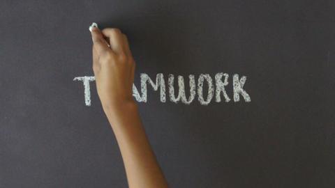 Teamwork Chalk Drawing Stock Video Footage