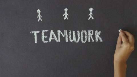 Teamwork Chalk Drawing Stock Video Footage