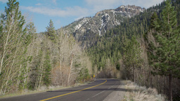 A view of a mountain road in the Sierra Nevada Mountain range Footage