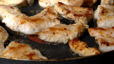 Roasted Turkey Pieces On A Hot Pan stock footage