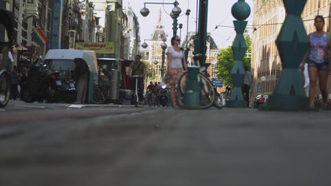 AMSTERDAM, NETHERLANDS - CIRCA 2013: Static shot of street near Dam Square on 20 Footage