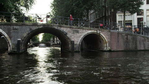 Tracking shot of a bridge in Amsterdam, Netherlands Footage