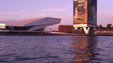 Tracking shot of the EYE contemporary movie culture center from the river IJ Footage