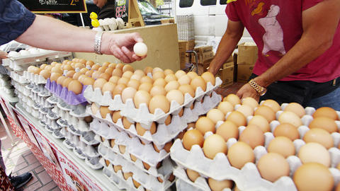Fresh eggs in an open market Footage