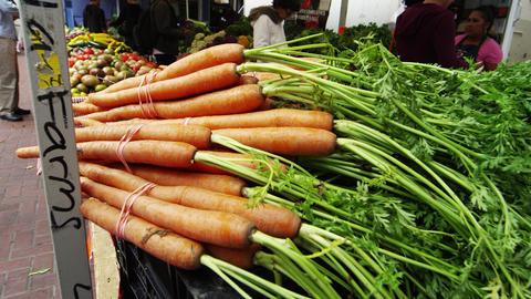 Fresh produce at market in San Francisco Footage