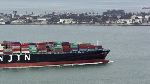 Cargo ship in San Francisco Bay Footage