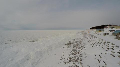 Aerial shoot of Shiretoko floating ice Footage
