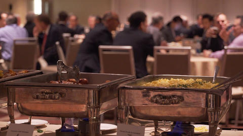 Banquet chafing dishes at a conference Footage