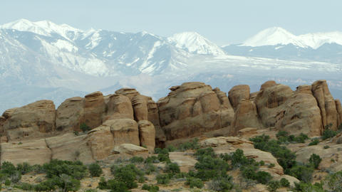 Sandstone layers with the La Sal Mountains Footage