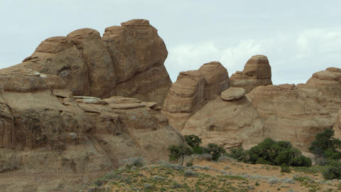 A static shot of the sandstone layers in Arches National Park Footage