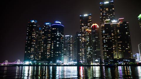 Waterfront Marine City, Night View 4K Timelapse, Busan in South Korea Footage