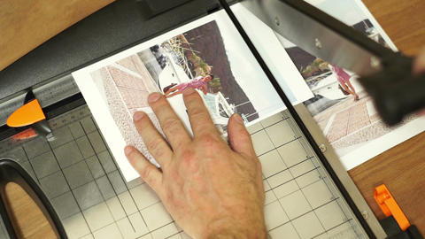 Print Shop Cutting Picture Guillotine Overhead Footage
