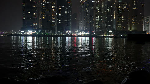 Waterfront Marine City Night View, Busan in South Korea Footage