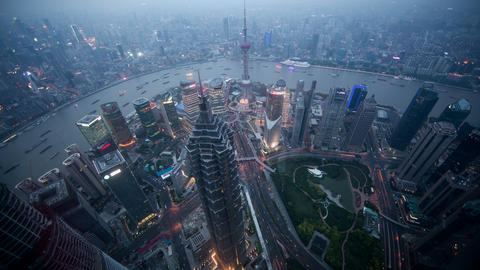Time lapse looking down to Jin Mao tower in Shanghai China Footage