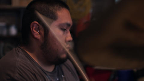 Side view of man playing drums Footage