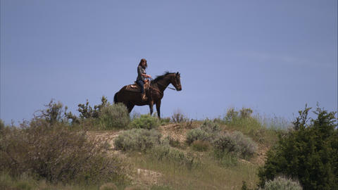 Slow motion shot of woman on a horse in a high pasture Footage