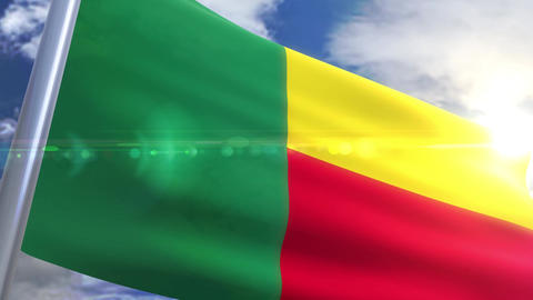 Waving flag of Benin Animation Animation