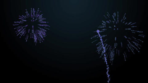 firework bursts over black background animation blue tint Stock Video Footage
