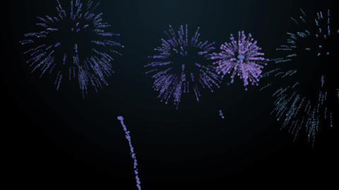 firework bursts over black background animation blue tint Animation