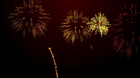 firework bursts over black background animation orange tint Animation