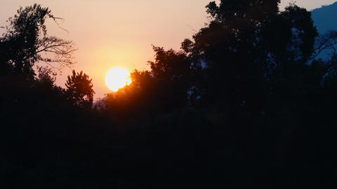 Sunrise sun in orange sky ビデオ