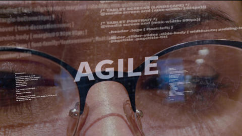 Agile text on background of developer Footage