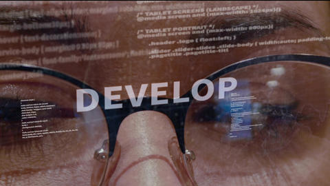 Develop text on background of developer Live Action