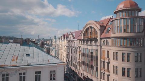 Aerial City Lviv, Ukraine. European City. Popular areas of the city. Rooftops Footage