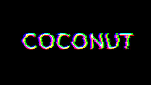 From the Glitch effect arises fruit COCONUT. Then the TV turns off. Alpha channel Premultiplied - Animation