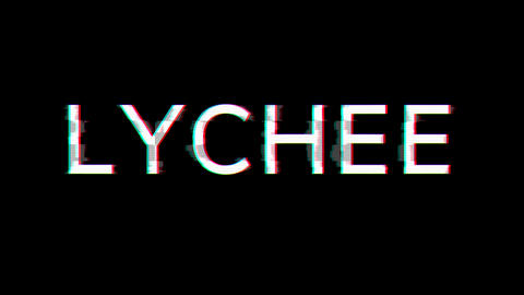 From the Glitch effect arises fruit LYCHEE. Then the TV turns off. Alpha channel Premultiplied - Animation