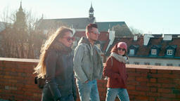 Millennial People in Sunglasses: Three Young Adult Friends are Walking in Town Footage