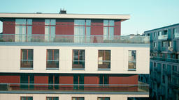 Panning Shot of New Buildings of Modern Apartment Residential Complex Exterior Footage