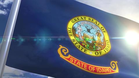 Waving flag of the state of Idaho USA Animation