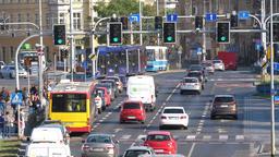 Wroclaw Poland 19.10.2018 Legnicka street Busy city crosswalk cars and city Archivo