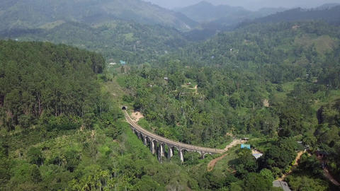 Aerial View drone 4k footage Of Famous Nine Arches Bridge Sri Lanka Railway Train With Footage