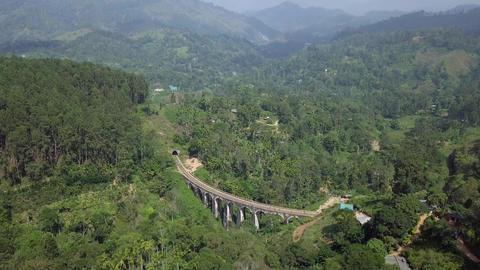 Aerial View drone 4k footage Of Famous Nine Arches Bridge Sri Lanka Railway Train With Archivo