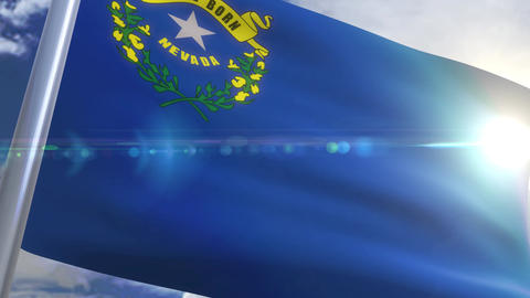 Waving flag of the state of Nevada USA Animation
