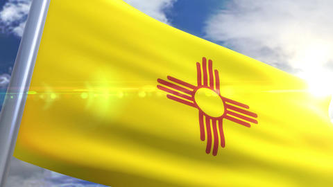 Waving flag of the state of New Mexico USA Animation