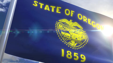 Waving flag of the state of Oregon USA Animation