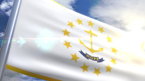 Waving flag of the state of Rhode Island USA Animation