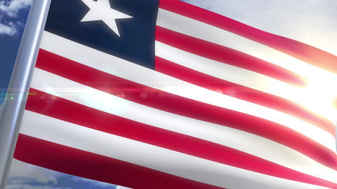 Waving flag of Liberia Animation Animation
