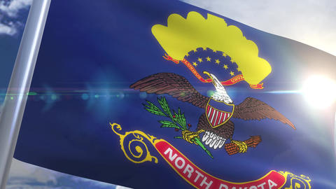 Waving flag of the state of North Dakota USA Animation