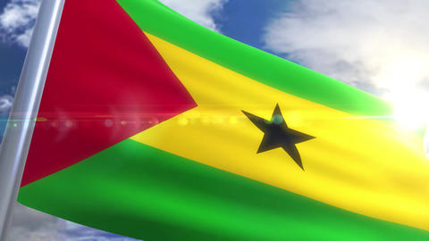 Waving flag of Sao Tome and Principe Animation Animation