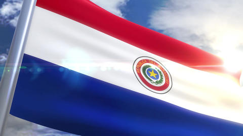 Waving flag of Paraguay Animation Animation