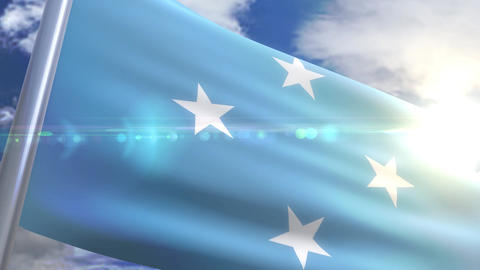 Waving flag of Micronesia Animation Animation