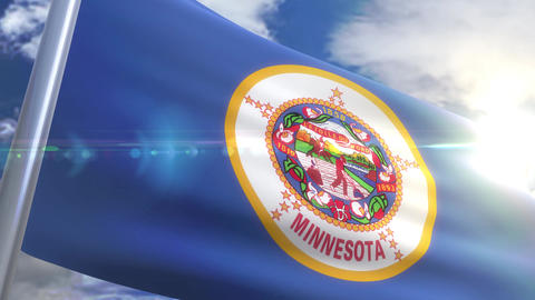 Waving flag of the state of Minnesota USA Animation